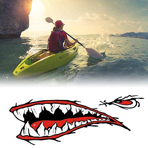 Monllack 2 Stück Wasserdicht Haifisch-Zähne Mund PVC-Aufkleber-Abziehbilder für Fischerei Ozean Boot Kanu Schlauchboot Zubehör