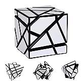 Xxsmile 3x3 Irregular Suave Fibra de Carbono Cubo Mágico Fantasma Cubo Torcedura Rubik Cubo Niños Adultos Rompecabezas Inteligencia Puzzle (Blanco)