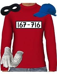 Gangster Kostüm Set für Panzerknacker Fans JGA Herren Langarm T-Shirt+Cap+Handschuhe+Maske