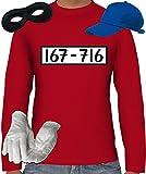 Gangster Kostüm Set für Panzerknacker Fans JGA Herren Langarm T-Shirt+Cap+Handschuhe+Maske, Größe: XL,Rot
