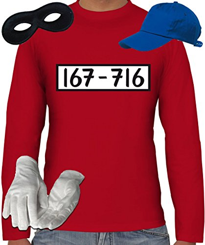 Motto Kostüm B Party Ideen (Gangster Kostüm Set für Panzerknacker Fans JGA Herren Langarm T-Shirt+Cap+Handschuhe+Maske, Größe:)
