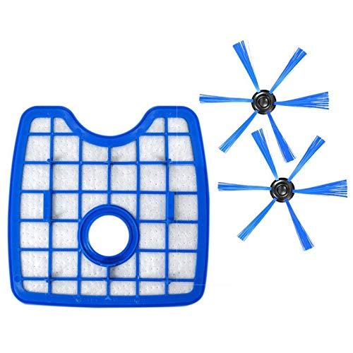 Nrpfell 3 Piezas/Juego Aspiradora 1 Pantalla De Filtro + 2 Cepillo Redondo para Philips Robot...