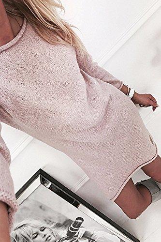 ZIOOER Damen Pulli Pullover Rock Longshirt Kleider Winterkleider Hemd Kleid Strickkleider Langarm Mode Stricksweat Strickpullover Lose Sweatkleid Minikleid Rosa