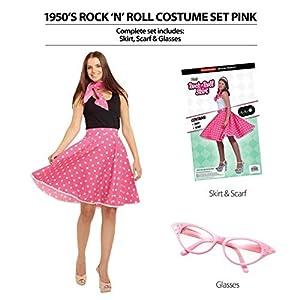 Bristol Novelty AP017 - Disfraz de Rock n Roll de los años 50, Color Rosa,, Talla única