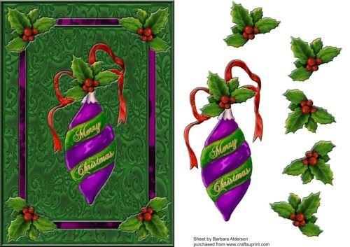 Merry Christmas-Violet boule by Barbara Alderson