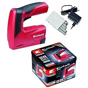 Einhell TC-CT 3,6 Li – Pack con grapadora a batería y 1000 grapas, batería 1.3 Ah, cargador, 3.6 V, color rojo y negro