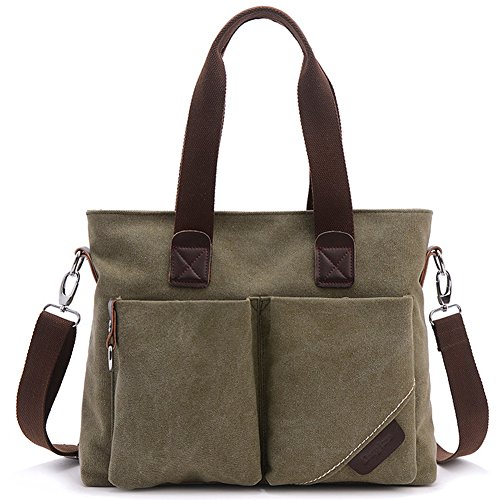 Tote Bag für Frauen, BLOOMSTAR Canvas Lady Top handle Tasche Handtasche Umhängetasche Tasche Handtasche Messenger Bag (Army Green) (Beach Green Bag)
