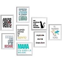 Pack de ocho láminas FELIZ. Posters con imágenes y mensajes alegres. Decoración de hogar. Láminas para enmarcar. Papel 250 gramos alta calidad