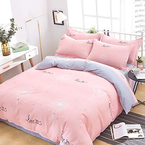 LCLZ Hohe Qualität Multi-Size-Baumwolle Bettbezug Bettwäsche Kissenbezug Aktives Drucken Und Färben Löwenzahnmuster Nicht Verblassende Bettwäsche Set Von Vier (Size : 220 * 240cm)