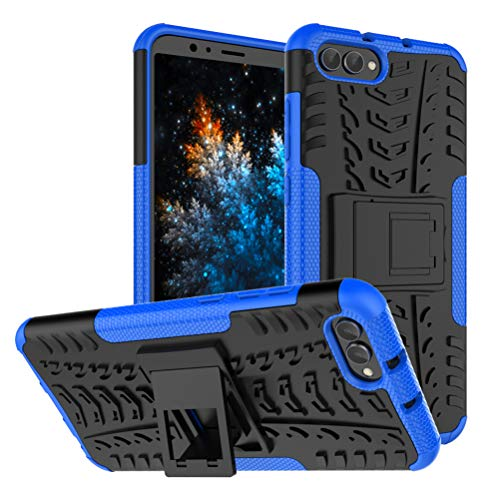 MRSTER Honor View 20 Hülle, Outdoor Hard Cover Heavy Duty Dual Layer Armor Case Stoßfest Schutzhülle mit Ständer Handyhülle für Huawei Honor View 20 / Honor V20. Hyun Blue Dual-view-case