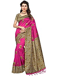 Mrinalika Fashion Women's Khadi Silk Saree With Blouse Piece (Beige_Free Size)