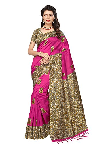 Mrinalika Fashion Women\'S Art Silk Saree With Blouse Piece ( Pink_Srja034_Free Size )