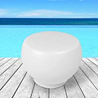 Mesa auxiliar para jardín modelo Ou color BLANCO, mesa outdoor - indoor, mesita baja