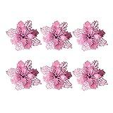 Vosarea 6pcs Flores de Navidad Brillo Artificial Boda árbol de Navidad guirnaldas decoración Ornamento (Rosa)