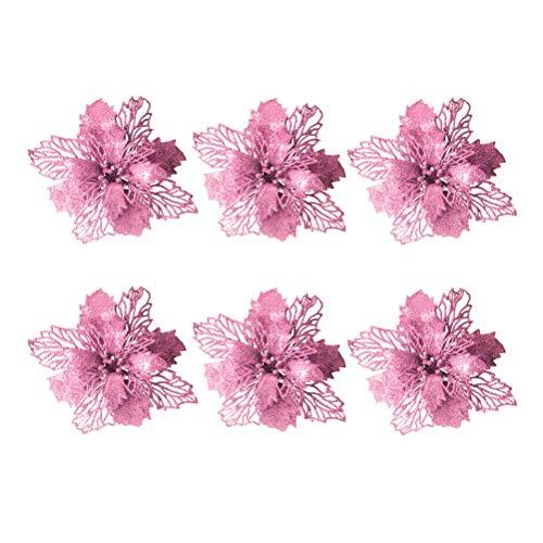 Vosarea 6pcs Flores de Navidad Purpurina Artificiales Boda Navidad árbol Coronas Décor...