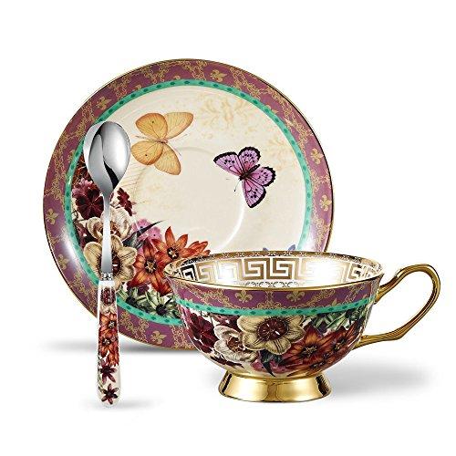 Panbado Bone China Porzellan Kaffee Set, 200 ml Kaffeetasse mit Untertasse und Löffel