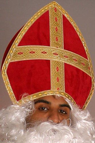 Bischof Mütze Mitra Einheitsgröße rot Nikolaus Hut