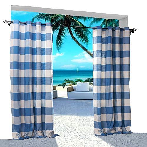 id Outdoor-Vorhang 381B x 213H (1 Panel) Halterungsöse für Vorhalle, Pergola, Cabana, überdachte Veranda, Aussichtspunkt, Dock und Strandhaus, Weiß Blau ()