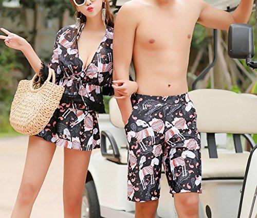 6e82cced6 HOMEE Pareja Traje de baño de Gasa Dividir Traje de baño Damas Bandeja de  Acero Reunir Playa Bikini Pantalones de Playa de los H
