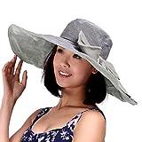 Fletion Donna Signora Ragazza Cotone Cappello a tesa estate spiaggia cappello completamente grande bordo sole spiaggia cappello Anti UV Cappello da sole con bowknot rimovibili grigio Grau taglia unica