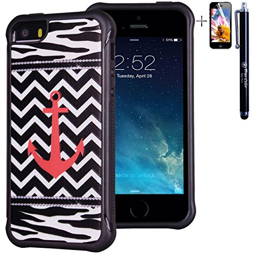 iPhone 5 5S case, True Color® rilievo stampato resistente agli urti TPU protettiva antiscivolo grip snap-on morbido robusto cover per iPhone 5 5S [True Impact Series] + pennino e pellicola protettiva  Coral Anchor on Chevron & Zebra