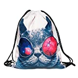 Beutel Galaxy Sunglasses Cat Katze Aufdruck Fullprint Tasche Gymsac Turnbeutel Jutebeutel Print Bag Fitness 010