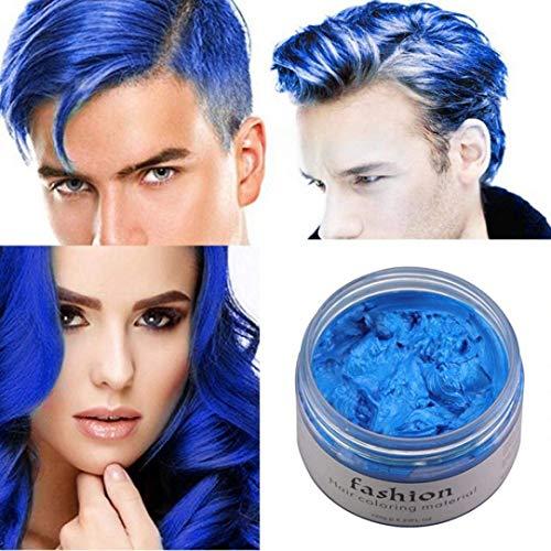 Arteki 7 Colors Instant Hair Wax Unisex DIY Hair Color Wax Mud Dye Cream Temporary Modeling (Blue F) -