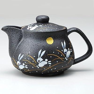 Théière en Céramique Japonaise Kutani Lapins et la Lune (avec passoire à thé) Import Japon