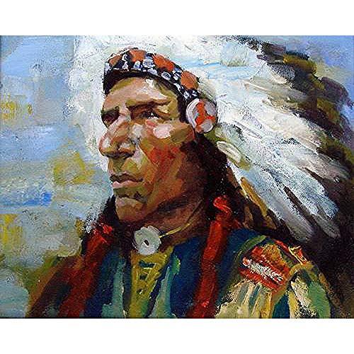 CZYYOU DIY Digital Malen Nach Zahlen Die Indianer Ölgemälde Wandbild Kits Färbung Wandkunst Bild Geschenk - Mit Rahmen - 50x60cm