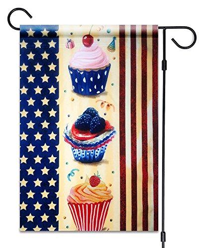 51Gruppen American Flagge mit Cupcakes Garten Flagge Fahne Deko 30,5x 45,7cm Patriotische 100% Alle Wetter Polyester Kleine Größe Banner