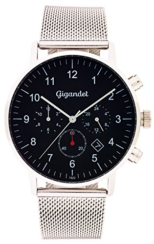 Gigandet Quartz Men's Quartz Watch with Milanese Minimalism II Dual Time Analog Date Stainless Steel Bracelet Black Silver G21 Boots