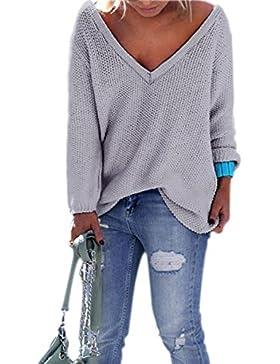 Suéter Mujer de Punto Manga Larga Amplio V-Cuello Pullover Jerséis Moda para Otoño/Invierno