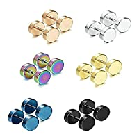 Epinki Jewellery 6 Pairs of 316 Stainless Steel Round Stud Earrings Sets Assorted Sizes 7MM for Womens Men