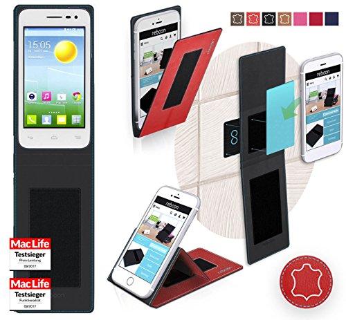 reboon Hülle für Alcatel OneTouch Pop S3 Tasche Cover Case Bumper | Rot Leder | Testsieger