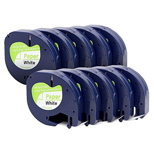yenlok 10 Pack 91220 Schriftband Kassette Kompatibel für Dymo LetraTag 91200 S0721510 Papier Beschriftungsbänder Etikettenband 12mm x 4m Schwarz auf Weiß für LT-100H lt-100t lt-110t QX 50 XR XM 2000 Plus Label Makers