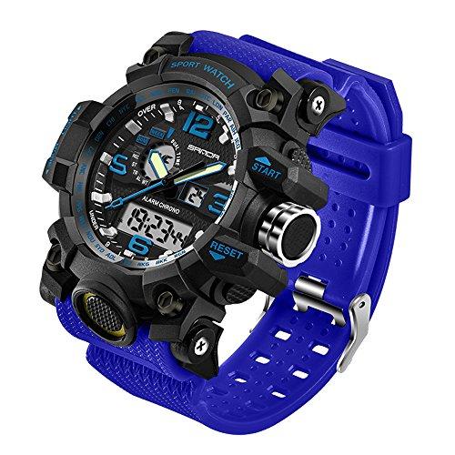 Taffstyle Herren Sportuhr Armbanduhr Silikon Sport Watch mit Licht Alarm Stoppfunktion Chronograph Digital Quarz Flieger Uhr Blau