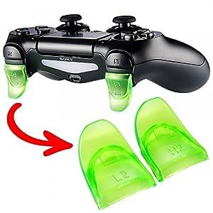 eXtremeRate 2 Paar PS4 Trigger Tasten L2 + R2 Buttons Schultertasten Ersatzteile Zubehör Set für Playstation 4 PS4 Dualshock 4 JDM-001/011/040/050/055 Controller – Grün