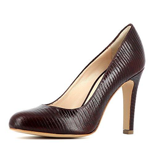 CRISTINA escarpins femme cuir gaufré Bordeaux