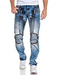 BLZ jeans - Jean homme droit bleu délavé fantaisie