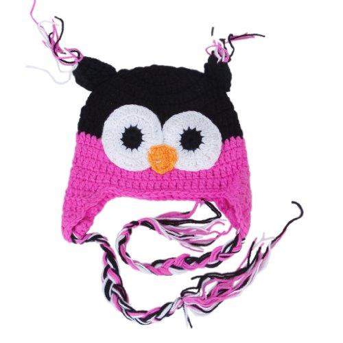 Kleinkind Säugling Baby handgefertigt Eule Hut häkeln stricken Kappe Beanie heiß rosa + schwarz