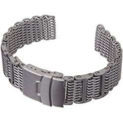 Geckota® Chainmail SHARK MESH Dive H-Link Stainless Steel Watch Strap Satin 24mm