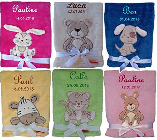 Kuschlige Babydecke SUPER FLAUSCHIG bestickt mit Namen und Datum -