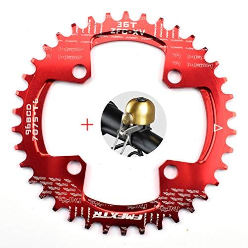 DUBAOBAO AM/XC Fahrrad 96BCD runde Einzelplatte, 32T / 34T / 36T / 38T Mountainbike Fahrradplatte Scheibe und Kurbel Furnier, rot,96bcddisc36T -