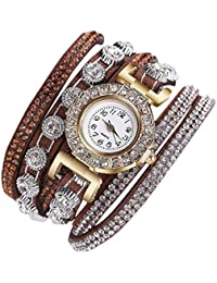 3c60203b2c89 Femmes pleine strass ronde Fashion Bracelet en alliage montre de la ceinture  élégante décoration ...