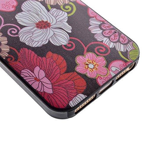 iPhone 5S Coque, iPhone 5 Coque, Lifeturt [ Star Papillon ] Housse Anti-dérapante Absorbant Chocs Protection Etui Silicone Gel TPU Bumper Case pour Apple iPhone 5/5S/5G E02-Colorful Flowers10463