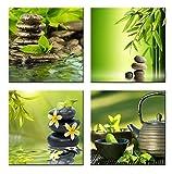CUFUN Art Giclée-Leinwanddruck, gerahmt, Motiv: grüner Bambus und Zen, Kunstdruck, für Zuhause, Büro, Wanddekoration, 30 x 30 cm, 4 Stück