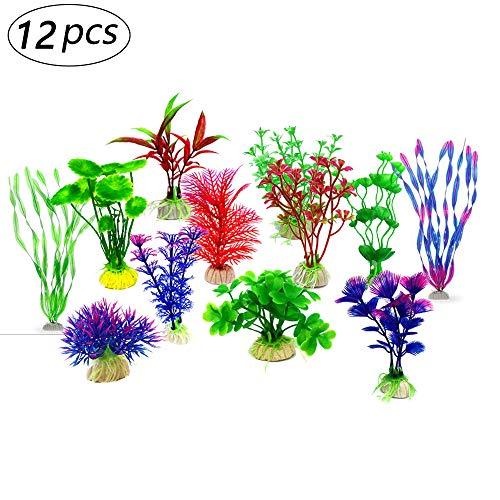 Mein HERZ 12 Stück Aquarium Wasserpflanzen, große Aquarium Pflanzen Kunststoff Aquarium Dekorationen, lebendige Simulation Pflanze Kreatur Aquarium Landschaft - Verschiedene Größen Farben Formen -