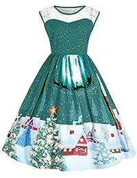 CHIYEEE Mujeres de Navidad Vestido de Fiesta de Las Señoras sin Mangas Vintage Navidad Swing Vestido