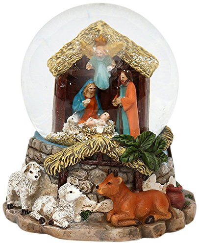 Unbekannt Sigro Heilige Familie Schneekugel mit Schnee wirbelt, Licht und Sound, 14x 12,5cm, Mehrfarbig