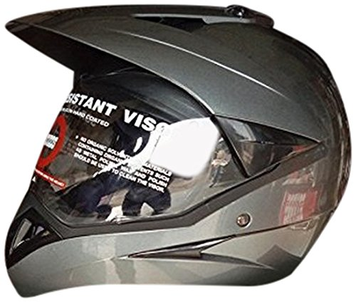 Studds Motocross Helmet with Visor (Gun Grey, L)